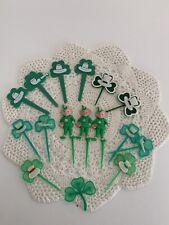 Vintage St. Patricks Day Cupcake Picks Lot Of 16 Use/Crafts