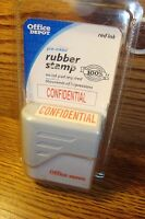 CONFIDENTIAL Office Depot Pre-Inked Rubber Stamp Red Ink No Pad Required * New