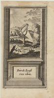 OPTIK Brennglas LUPE Original Kupferstich um1730 Sonne entfacht FEUER Astronomie