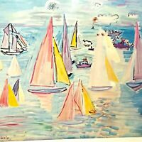 Vintage Raoul Dufy Boat Regatta Art Print mid century design Shorewood Print NEW