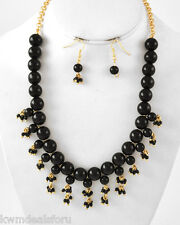 """Ladies Fashion Jewelry Black Gold Tone Necklace Charm Fish Hook Earring Set 18"""""""