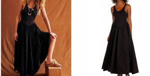 ASOS -Free People emilys midi dress in black RRP £108.00 XS