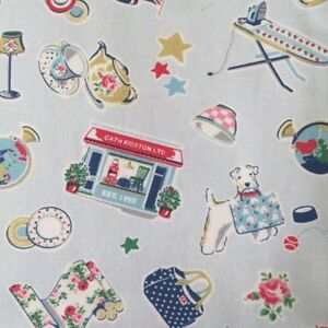 Cath Kidston 20th Birthday Cotton Duck Fabric Blue British Theme By the Metre
