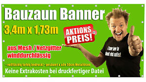 20x Bauzaun Banner aus Mesh Netzgitter Plane - luftdurchlässig - farbig bedruckt