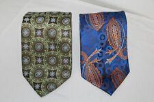 LOT of 2 Ties R.LEWIS & XMI PLATINUM Blue Paisley Green Brown Flowers Tie