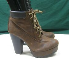 """NEW LADIES rustic brown Lace Up 4.5""""Block Heel Round Toe Sexy Ankle Boots Sz 7.5"""
