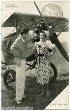 TORINO . TURIN . AVION . AVIATEUR et jolie femme . Carte-Photo . Aviator. plane