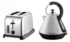 Silver Pyramid Style 1.8L Cordless Electric Kettle & Two Bread Slice Toaster Set