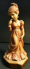 "Vintage Anri Sarah Kay Wood Carving Girl Thinking 4 1/2"" Height"