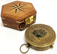 Royal Navy Engraved Maritime Brass Navigation Compasses Wooden Box/Case Gift New