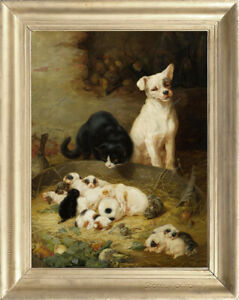 Old Master Art Oil Painting Portrait Cute Dog Cat Animal on Canvas 30x40