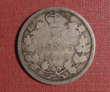 1858 CANADA 20 CENT PIECE - SCARCE ONE YEAR TYPE, CIRCULATED EXAMPLE