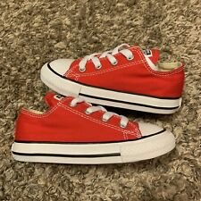 Converse Red Black & White Canvas Low Top Toddler Baby Sneakers Size 8C