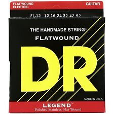 DR Strings FL-12 Legend Light Flatwound Electric Guitar Strings (12-52) +Picks