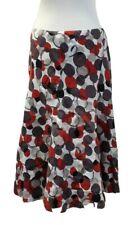 Women's UK 10 Linen Summer Midi Skirt Red Spotty Flared Floaty Work Casual East
