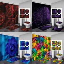 Rose Flower Art Bathroom Shower Curtain Toilet Seat Cover Rug Bath Mat Set Decor