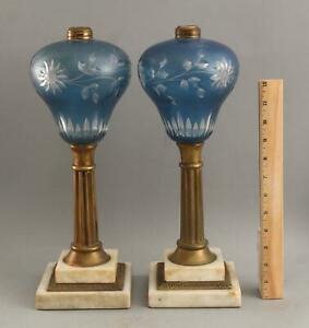 Pr Lrg Antique 19thC Cut to Clear Blue Overlay Sandwich Glass Oil Lamps NR
