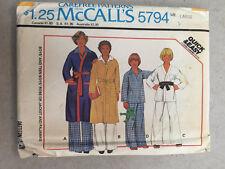 Vintage McCalls Sewing Pattern 5794 Teen Robe Pajamas