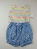 NWT Gap Baby Girl's 2 Pc Outfit Bodysuit/Bubble Shorts 6-12M New MSRP$30