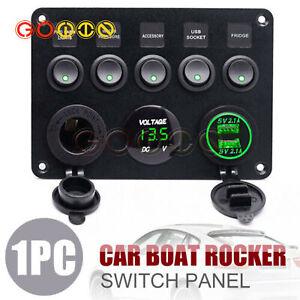 12/24V 5 Gang Car Marine Boat LED Circuit Rocker Switch Control Pannel breaker