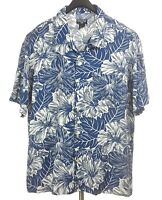 RALPH LAUREN Mens Blue White Floral S/S Hawaiian Camp Shirt Large L Rayon