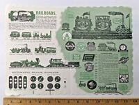 Vintage 1976 United States Railroads Railway Trains Signals Facts Paper Placemat