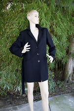 Marina Rinaldi Long Jacket Black Wool Blend New With Tags Designer Coat