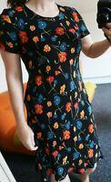 Vintage Laura Ashley Black Floral Dress 8 10 12 14 Autumnal Bright Flowers 90s
