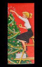 Vintage UNUSED Christmas Card 1950's WOMAN LADY GIRL on LADDER DECORATING TREE
