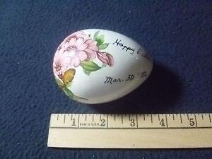 Miniature Vintage Ceramic Egg Shaped Bunny Figurine Dish Midwest Trading Co 1990\u2019s