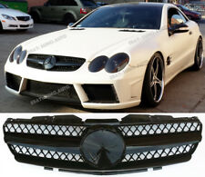 Mercedes SL R230,2001-06 grille,one fin,AMG SL55/SL65 look;SL350/500,Gloss black