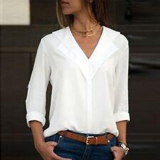 Sale Women Chiffon Long Sleeve Blouse Summer Casual V Neck Loose Tops T Shirts