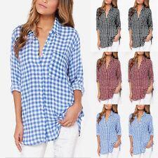 UK Plus 8-24 Women's Casual Plaid Check Long Sleeve Turndown Tops Shirt Blouse