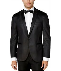 Kenneth Cole Charcoal Slim-Fit Charcoal Grid Dinner Jacket Mens 38R 38 $295