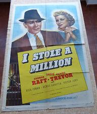 I Stole a Million Movie Poster, Original, Folded, One Sheet, year R1947, U.S.A.