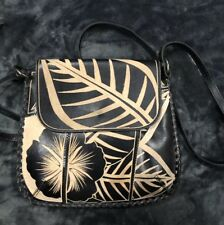 Patricia Nash Italian Leather Cuban Carved Floral Crossbody Bag Black!!