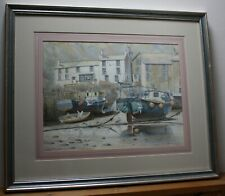 Sam Burden Signed Watercolour Painting - Polperro Harbour, Cornwall