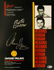 Tommy Hearns Roberto Duran Dual Signed 11 x 14 Photo Autographed Beckett BAS 7