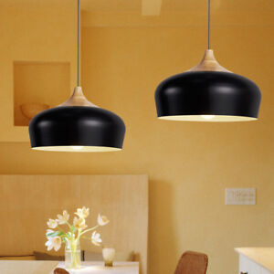 Modern Pendant Light Kitchen Chandelier Light Wood Ceiling Lights Bar Black Lamp