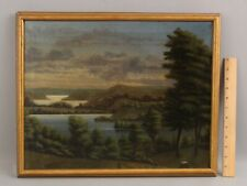 19thC Antique Folk Art Connected Lakes Colorado Western Landscape Oil Painting