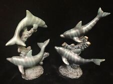 Pair Of Vintage Swimming Dolphin Porpoise Nautical Statue Sculpture Marine Ocean