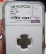 1844-B (ARGENTINA) 1/2 REAL (SILVER) CONFEDARATION (LA RIOJA) ----,RARE----