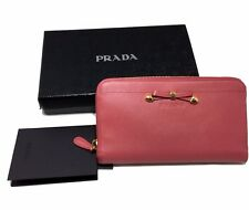 PRADA SAFFIANO LEATHER LARGE PINK ZIP AROUND WALLET, $645