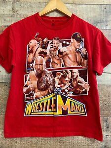 WWE 2011 WrestleMania Youth XXL T-Shirt: CM PUNK Rey Mysterio JOHN CENA The Rock