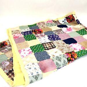 Handmade Quilt Patchwork Polyester Throw Cottagecore Satin Trim Vintage 70's