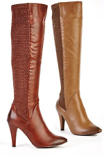 New Womens Faux Leather High Kitten Heel Knee High Ladies Pointed Boots UK Size