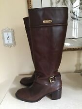 COACH 'Stacy' brown leather buckled strap block heel TALL BOOTS 7 B Retail $428