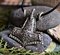 Mjölnir Wikinger Anhänger Thors Hammer Kette Runen Amulett Thorhammer Silber