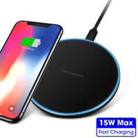 15W Fast Qi Wireless Charger Charging Metal Mat Pad For iPhone Xs Xr 8 Samsung