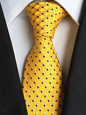 Classic Mens Necktie Silk Yellow Striped Black Polka Dot Ties Business XT-100